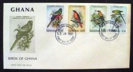 GHANA Oiseaux Yvert 700/703, Sur Enveloppe 1er Jour,  FDC; Emis En 1981 - Parrots