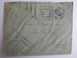 LETTRE CACHET MACHINE A AFFRANCHIR OBLITÉRATION MILITAIRE MILITARIA LANGRES LE COMMANDANT D'ARMES - Postmark Collection (Covers)