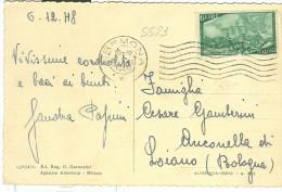 STORIA POSTALE, RISORGIMENTO �.6,  S583, ISOLATO IN TARIFFA  CARTOLINA VIAGGIATA  1948, CREMONA-BOLOGNA