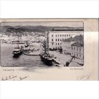 ITLATP1346C-LFTD7104TARSC. TARJETA POSTAL DE ITALIA.FARO.Edificios,Gru As,barcos En El Puerto De TRIESTE - Edificios & Arquitectura