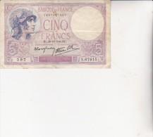 BILLET DE 5 FRS VIOLET - HC .26-12-1940.HC . - 1871-1952 Antiguos Francos Circulantes En El XX Siglo