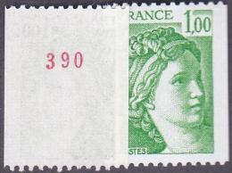 France Roulette N° 1981,Aa ** Sabine De Gandon Le 1 Fr Roulette Vert, Numéro Au Verso - Rollen