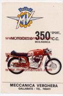 MV Agusta Moto 350 B Sport 1971 Depliant Originale Genuine Factory Brochure Prospekt - Motoren
