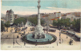 MARSEILLE 1920 FONTAINE CANTINI ET AVENUE DU PRADO TRAMWAY CARTE EN BON ETAT - Castellane, Prado, Menpenti, Rouet