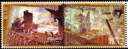 PANAMA 1999. La Construction Du Canal, Peinture Murale (paire)