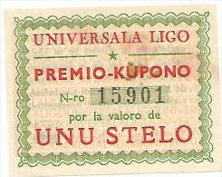 Esperanto, Lega Universale, Banconota Premio Kupono Numerata 15901 Da Uno Stelo. - Esperanto