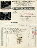 PRODUITS METALLURGIQUES.FERS.FONTES.ACIERS.EMILE MAURIN FILS 15-17 COURS VITTON.LYON. - France