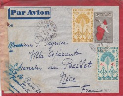 MADAGASCAR  ENVELOPPE ENTIER POSTAL POUR NICE, CENSUREE  1943 - Covers & Documents