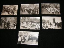 lot de 7 cpa carte photo � identifier procession .. Drapeau Compagnie d' Arc ??  JUI37
