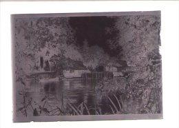 1 Negatif Plaque De Verre 9 X 6 Cm  - Paysage Bords De Riviere Maison - Plaques De Verre