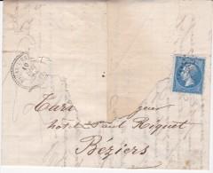 N°22 Oblitéré  GC 3444  Soual L´Estap (Tarn) Sur Fragment De Lettre Du 10 Décembre 1864 - Marcophilie (Timbres Détachés)