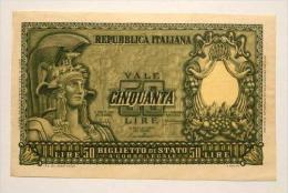 50 Lire  - Biglietto Di Stato -  Bolaffi /Cavallaro /Giovinco   D.M. 31-12-'51   B.I. 267.  Banconota Non Trattata. - 50 Lire
