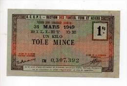 Bon De Matière - Tôle Mince 1Kg - 1949 - Filigrané - Notgeld