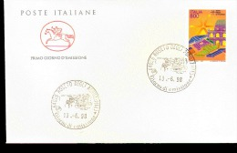 1998 ANNULLO FDC  Fiere Nell´economia. 10ª Serie. Fiera Di Vicenza. - Filatelia & Monete