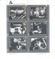 100 DEL CINE MUNDIAL AÑO 1995 HOJITA BLOC JALIL NR. 111 MNH TBE EL ACORAZADO POTEMKIN CASABLANCA LADRONES DE BICICLETAS - Cinema