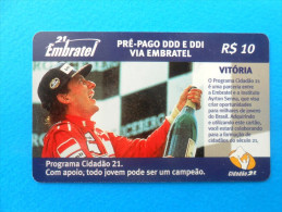 AYRTON SENNA - Senninha  ( Brazil Rare Prepaid Embratel Card ) Car Auto Racing Cars Formula 1 Brasil F1 Formule1 - Brazil