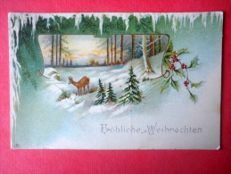 Christmas Greeting Card - Forest - Deer - SYS - Circulated In Imperial Russia Estonia 1907 - Non Classificati