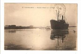 CASABLANCA - MAROC - STEAMER ECHOUE SUR LA PLAGE - BATEAU - NAUFRAGE - Casablanca