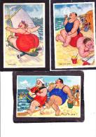HUMOUR - Grosse Dame  - Lot De 3 Cartes - Humour