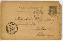 France - Entire CP,  1892 -  De MONNAIE ->  Halle (Saale) Ankunft - Postal Stamped Stationery