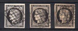 FRANCE :N° 3  OBL . TYPE CÉRÈS  . 1849 . 3 EX TB . DIVERSES NUANCES . - Marcophily (detached Stamps)