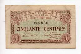 Billet Chambre De Commerce De Beauvais Et De L'Oise - 50 Cts - 2 Juin 1920 - Filigrane Abeille - Chambre De Commerce
