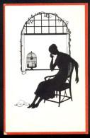 J.S. U. Co. M. Ser. 621-26 - Letter, Woman, Birdcage ----- Postcard Not Traveled - Scherenschnitt - Silhouette