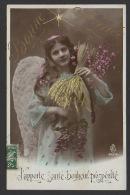 DF / FÊTES - VOEUX / NOUVEL AN / BONNE ANNÉE / FILLETTE EN ANGE / J'APPORTE SANTÉ, BONHEUR, PROSPÉRITÉ / CIRCULÉE 1908 - Anno Nuovo