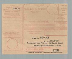 Mandat Carte De Versement Bureau De Cheques De LYON Jacquemin Neussargues Moissac Cantal - Chèques & Chèques De Voyage