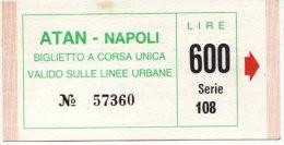 NAPOLI  /  Biglietto  A.T.A.N.  DA LIRE  600 - Bus