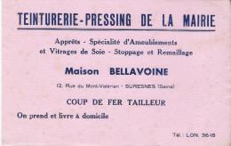 Teinturerie -Pressing/ Maison Bellavoine /Rue Du Mont Valérien / Suresnes / Seine /Vers 1950   BUV165 - Löschblätter, Heftumschläge