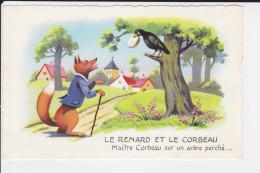 CPSM FABLE DE LA FONTAINE LE CORBEAU ET LE RENARD 1957 - Fiabe, Racconti Popolari & Leggende