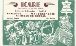 Bagage Avion / Maroquinerie/ ICARE/ Rue De Châteaudun /Paris 9éme / /Vers 1955   BUV166 - Blotters