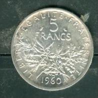 5 Francs Semeuse Argent Année 1960 Pieb6501 - France