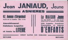 Ameublement /Literie / Jean Janiaud/ ASNIERES /Vers 1955   BUV168 - Buvards, Protège-cahiers Illustrés