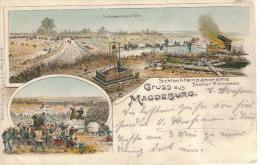 MAGDEBURG - Litho - Schlachtenpanorama Belagerung v. Paris - Militaria - 1905