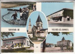 VILLARS LES DOMBES 01 - Jolie Multivues Colorisée Et Restaurant BURNICHON - CPSM Dentelée Noir Et Blanc PF - Ain - Villars-les-Dombes