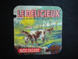 Ancienne étiquette Fromage Marne : Le Délicieux - HUTIN Et Gilles  à  ARRIGNY ( 51 )   Thème : Vaches - Quesos