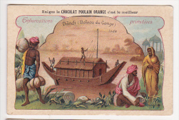 Chromo Chocolat Poulain Embarcations Primitives Inde DANDI Bateau Du Gange Bateau Femme Costume - Poulain