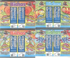 LOTTERY TICKETS - BILLETES DE LOTERIA REPUBLICA ARGENTINA BICHOS INSEKTS INSECTS INSECTOS LOTERIA NACIONAL MULTICOLORES - Billetes De Lotería