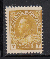 Canada MNH Scott #113 7c George V, Admiral Issue - Yellow Ochre - Neufs