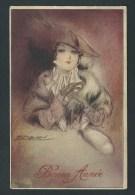 Mauzan. Jeune Femme élégante. Chapeau à Plumes, Fourrure. Bonne Année. N°230. - Mauzan, L.A.