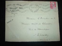DEVANT DE LETTRE TP MARIANNE DE GANDON 6F OBL.MEC. 16 XII 47 ANNECY RP (74) + VINS EN GROS BOUCHET FILS - Other