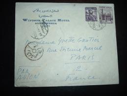 LETTRE PAR AVION TP 50M + 2M OBL. + WINDSOR PALACE HOTEL ALEXANDRIA - Egypt