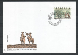 D32 Slowenien Slovenia Slovenie 1993 Mi.No. 59 FDC 400. Jahrestag Der Battle Of Sisak Schlacht Von Sisak Horse Pferd - Slowenien