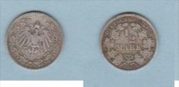 ALLEMAGNE  //   1/2 Mark   1905 F  //  état  TB - [ 2] 1871-1918: Deutsches Kaiserreich