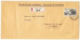 R-Brief Société Des Nations SDN 30.XII.38 Genève 10  Mit 1 Fr. BIT Marke - Service