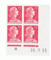 15f Muller Yvert 1011, AC De AB+AC Du 26.9.55, ** - 1950-1959