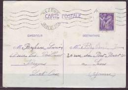 KRAG De BEZONS Seine Et Oise  5.L.O.   Le 13 XII 44 Pour  SENS  IRIS 1f20 Violet    Sur CP - Mechanical Postmarks (Other)