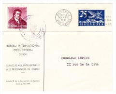 Brief B.I.E.Bureau International D´Education 12.II.1941 Genève 1 Mit BIE DV Marke Pestalozzi Weinrot I - Service